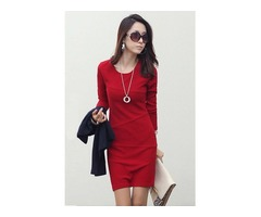 Plain Long Sleeve Womens Sheath Dress