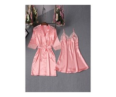 Simple Sexy Lace Lace-Up Bowknot Night Dress and Robe