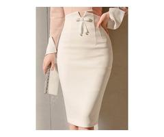 High-Waist Knee-Length Plain Womens Skirt