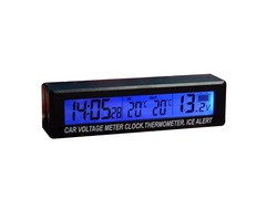 EC88 3 in 1 Function Car Clock & Voltage Meter &Thermometer Blue Orange Dual Color Display