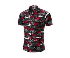 Tidebuy Color Block Print Mens Short Sleeve Shirt