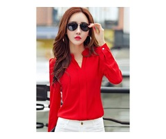Tidebuy Stand Collar Womens Blouse