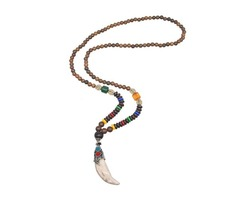 Wooden Beads Agate Long Chain Pendant Necklace