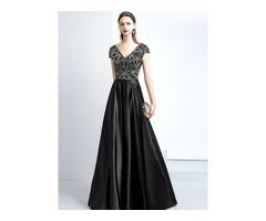A-Line Beading V-Neck Evening Dress