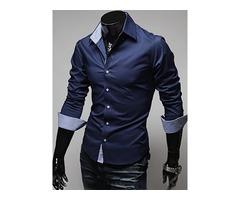 Tidebuy Plain Lapel Single-Breasted Mens Casual Shirt
