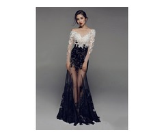 Sexy Long Sleeves Mermaid Bateau Appliques Lace Evening Dress