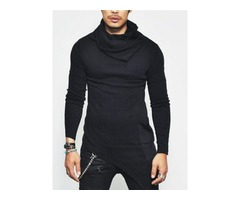 Tidebuy Heap Collar Slim Long Sleeve Mens T-Shirt