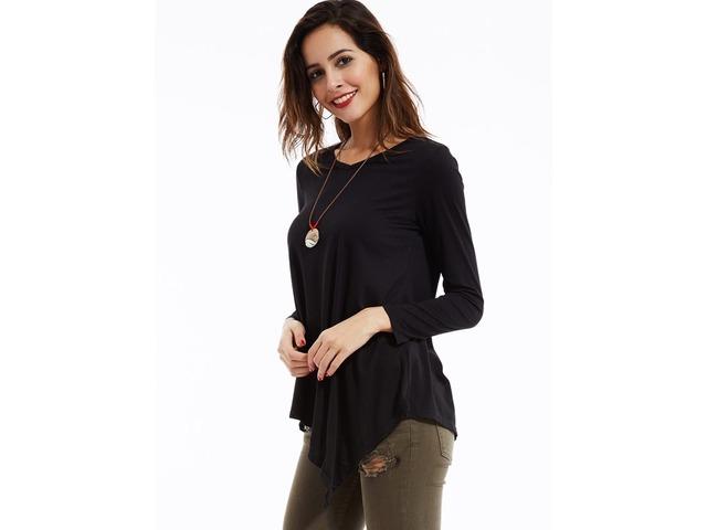 Asymmetric Round Collar Long Sleeve T-Shirt | free-classifieds-usa.com
