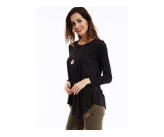 Asymmetric Round Collar Long Sleeve T-Shirt