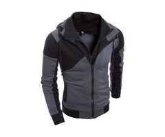 Fashion-Double-Zipper-Hooded-Slim-Mens-Sweater
