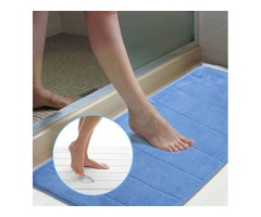 Honana WX-327 120x40cm Foam Absorbent Floor Mat Coral Velvet Anti Slip Bath Carpet Slow Recovery Doo