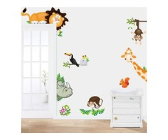 Animals Zoo Jungle Cartoon PVC Wallpaper Board Stickers Decals Kids Nursery Baby Room Decoration DIY