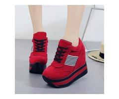 PU Stripe Lace-Up Hidden Heel Womens Sneakers