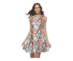 Tidebuy Sleeveless Print Round Neck Womens A-Line Dress