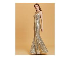 Scoop Neck Sequins Mermaid Evening Dress