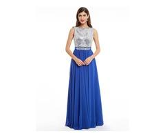 Scoop Neck Sleeveless Sequins A Line Evening Dress