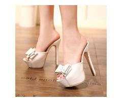 PU Bow Platform Flip Flop Stiletto Heel Womens Slide Sandals