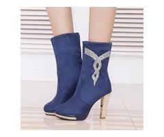 PU Rhinestone Slip-On Elegant Womens Boots