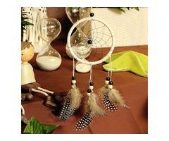 Handmade Dreamcatcher Car Wall Window Hanging Ornaments Guineafowl Feather Flocking Decor