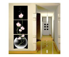 40x40cm Combination Canvas Print Painting 3Pcs Flowers Lotus Printed On Canvas Home Entryway Wall De
