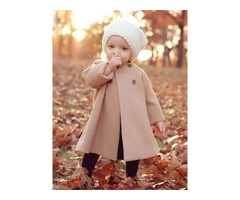 Round Neck Double-Breasted Baby Girls Cape Woolen Coat