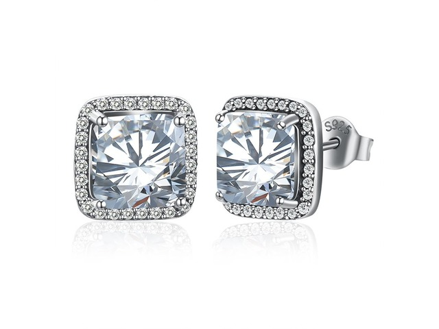 925 Silver Square Shape Imitation Diamond Inlaid Stud Earrings