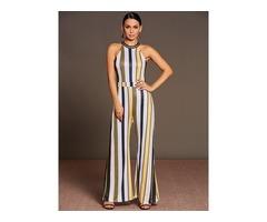 High-Waist Stripe Lace-Up Print Wide Legs Jumpsuits