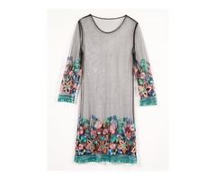 Tidebuy Embroidery Mesh Tie-Dye Womens Casual Dress