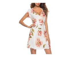 Tidebuy A-line Floral V Neck Day Dress