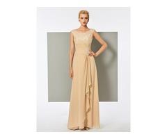 Pleats Scoop A-Line Lace Long Evening Dress