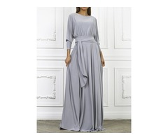 Tidebuy Lace-Up Polyester Pleated Womens Maxi Dress