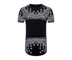 Tidebuy Floral Print Short Sleeve Mens Long T-Shirt