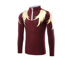 Tidebuy Wing Print Stand Collar Zipper Mens Stylish T-Shirt