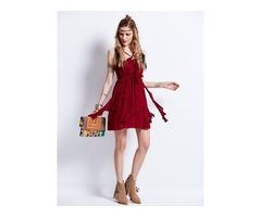 Tidebuy Cotton Plain Womens A-Line Dress