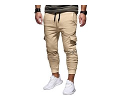 Tidebuy Plain Lace-Up Straight Mens Casual Pant