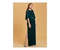 Scoop Neck Half Sleeves A Line Evening Dress