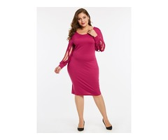 Tidebuy Plusee Round Neck Hollow Womens Bodycon Dress