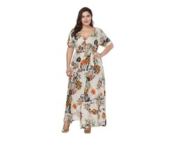Tidebuy Ankle-Length Plusee V-neck Floral Printing Womens Maxi Dress