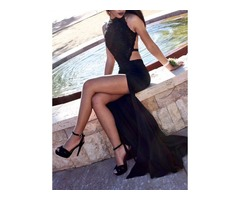 Sexy Halter Appliques Backless Black Evening Dress