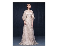 Vintage Bateau Neck Sleeves Lace Evening Dress