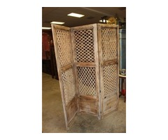 Vintage Indian Rosewood Wooden Screen Room Divider Hand Carved 3Panels Headboard