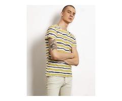 Stripe Color Block Mens Casual T-Shirt