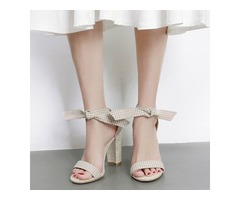 Bow Lace-Up Chunky Heel Womens Gingham Sandals