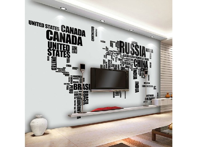 World Map Removable Wall Sticker.Diy Large World Map Wall Decal English Alphabet Removable Wall