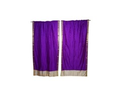 "Indian Sari Curtain Drape Window Decor Purple Silk Sari Drape 2 Panels Set 44"""
