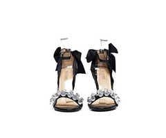bizare Nathalie Black Embellished Back Bow Tie | Ankle Strap | Open Toe | Heeled Sandals