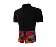 Tidebuy Color Block Ethnic Mens Short Sleeve Shirt