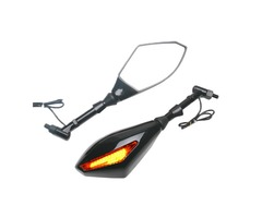 Motorcycle Black Turn Light LED Side Mirrors 10mm Installation Screws
