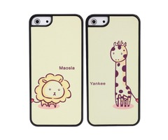 Cute Cartoon Frosted Giraffe Lion Couple Plastic Case For iPhone 5 5S SE