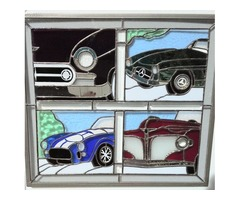 Four Stained Glass Antique Cars